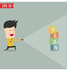 Businessman use flashlight find business concept vector image