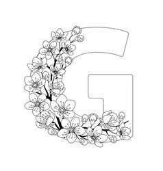 Capital letter g patterned with contour drawn vector