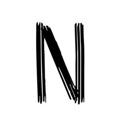 Capital letter n painted by brush vector