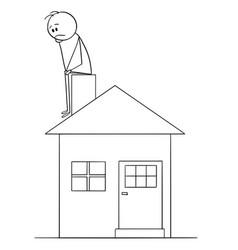 cartoon of sad or thinking man sitting on family vector image