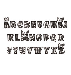 cartoon zebra font lettering alphabet set vector image