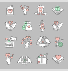 charity icon set in flat hand drawn cartoon style vector image