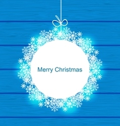 Christmas Round Frame Made in Snowflakes vector image