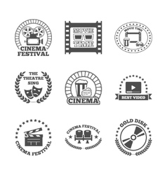 Cinema black retro labels icons set vector image