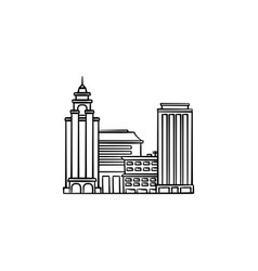 cityscape hand drawn outline doodle icon vector image