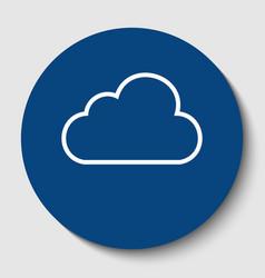 cloud sign white contour vector image