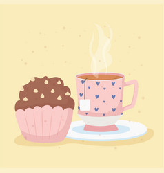 coffee time and tea cup on dish and cupcake vector image