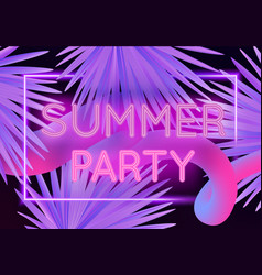colorful modern with neon lettering summer party vector image