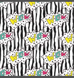 colorful seamless pattern on striped backdrop wow vector image