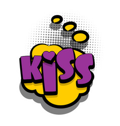 Comic book text bubble advertising kiss vector