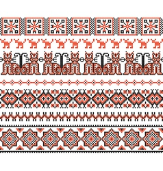 Cross stitch ethnic Ukraine pattern vector