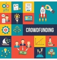 Crowdfunding Flat Set vector image