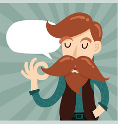 cute gentleman hipster cartoon character vector image