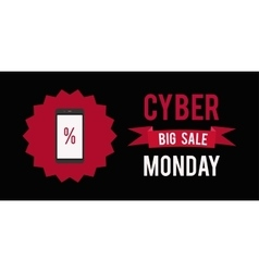 Cyber monday sale banner witn black background vector image