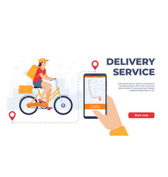delivery service application woman riding bicycle vector image