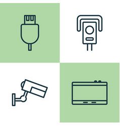 Device icons set collection of cctv surveillance vector