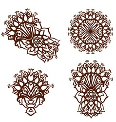 Elements painted with henna set vector image