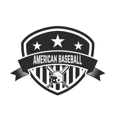 emblem with crossed baseball bat and baseball vector image