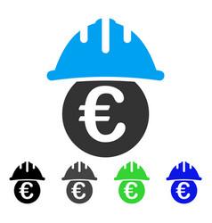 Euro under safety helmet flat icon vector