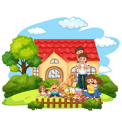 family picnic in front yard vector image