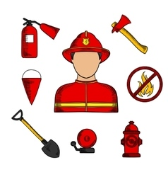 Fireman and fire fighting symbols vector image
