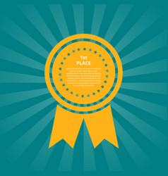 first place medal shape with ribbon vector image