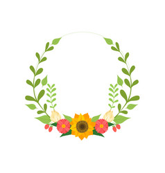 floral wreath round border with flowers and vector image