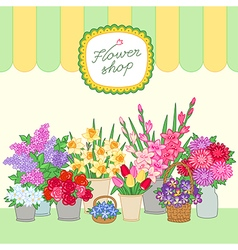Flower shop green vector