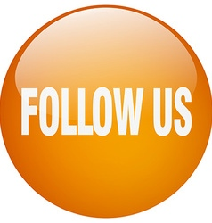 Follow us orange round gel isolated push button vector
