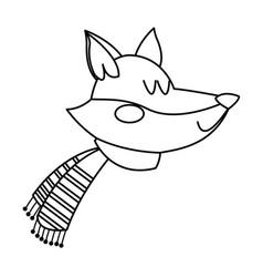 Fox with a scarf christmas animal celebration vector