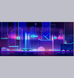 Futuristic city background with neon illumination vector
