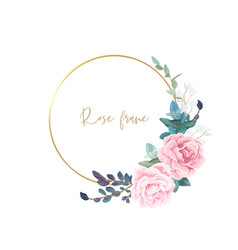 gold frame with pale roses eucalyptus leaves vector image