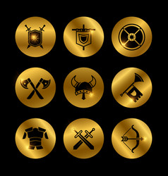 Gold vintage warrior medieval icons with lights vector