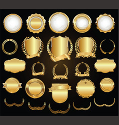 golden shields laurel wreaths and badges vector image
