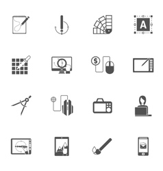 Graphic Design Black Icons vector image