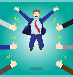 happy jumping businessman getting thumbs up from vector image