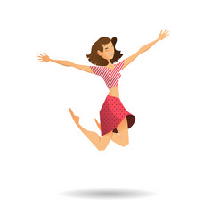 Happy surprised woman in jumping vector