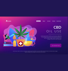 Hemp seed oil concept landing page vector