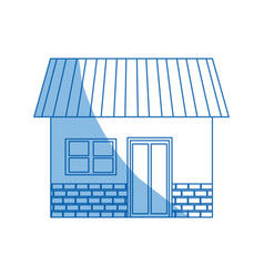 House exterior door window brick residentail icon vector