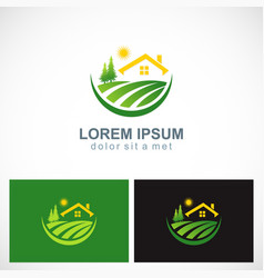 House landscape village nature logo vector