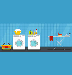 interior laundry banner horizontal flat style vector image