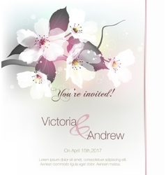 invitation with floral vector image vector image