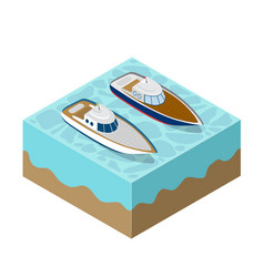 Isometric yacht of a sea cruise vector