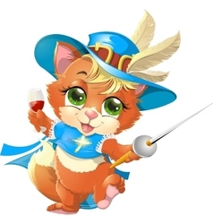 Kitten musketeer with sword vector