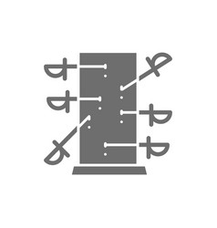 Knife throwing board magic grey icon isolated vector