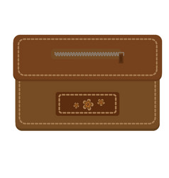 leather brown purse with zipper and stitching vector image