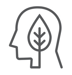 leaves in head line icon ecology and energy vector image