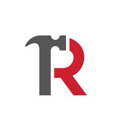 letter r hammer logo vector image