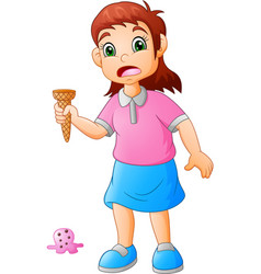 little girl sad the ice cream falling vector image
