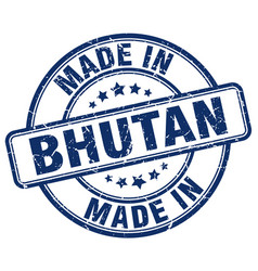 Made in bhutan blue grunge round stamp vector